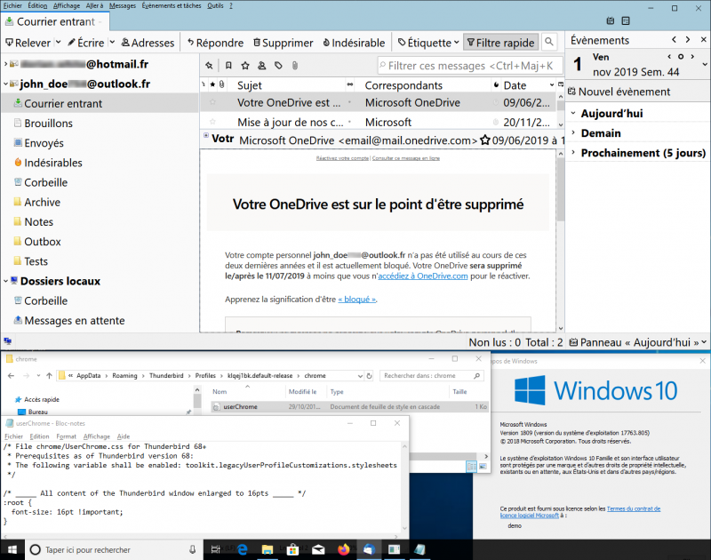 Screenshot of a Virtual Machine running Windows 10 with customized Thunderbird opened in a window (Credit: wiki.ordi49.fr under licence CC BY 4.0)