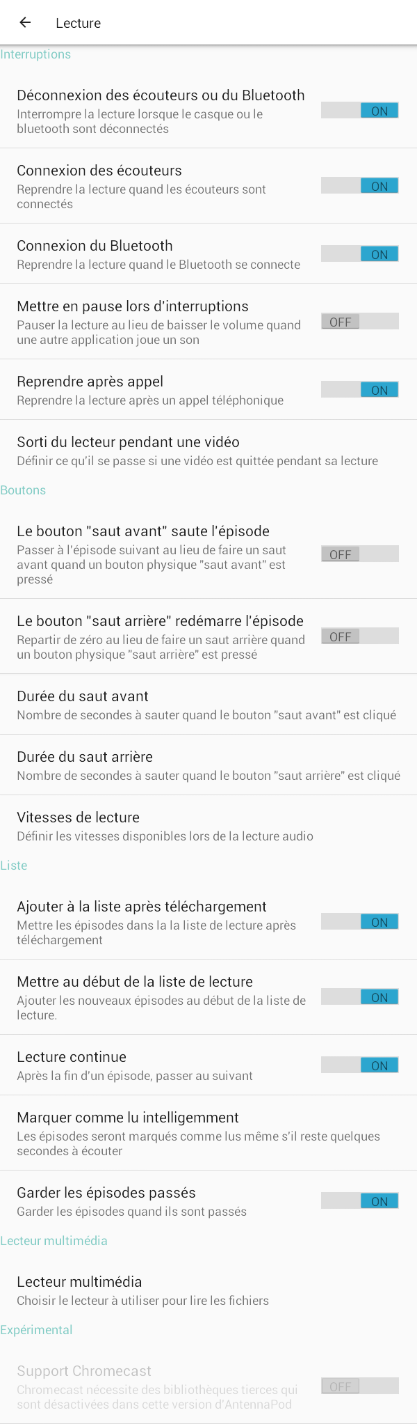 AntennaPod - Sous-menu Lecture de l'application antennaPod (Crédit : wiki.ordi49.fr sous licence Creative Commons BY 4.0)