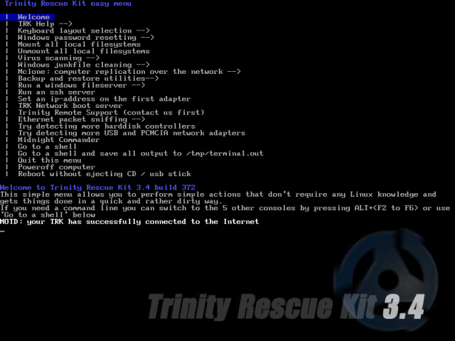Trinity Rescue Kit menu screen