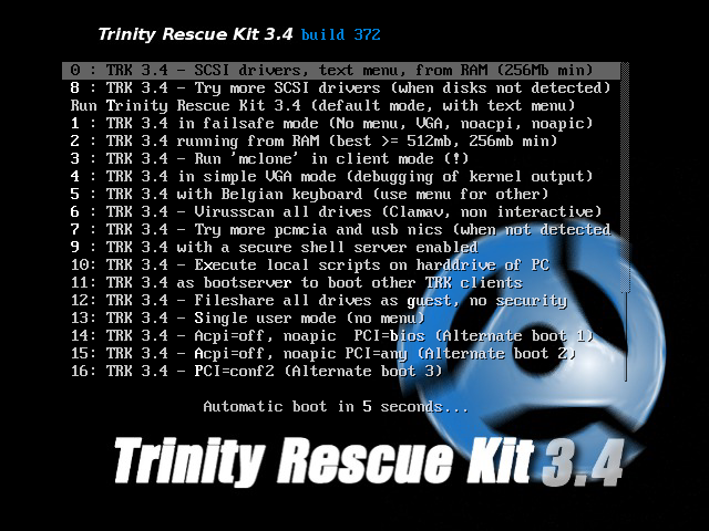 Menu de démarrage CD du Trinity Rescue Kit patché